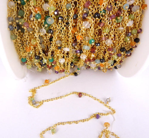 Assorted Gemstone Dangle Chain on Gold Plated Link Chain