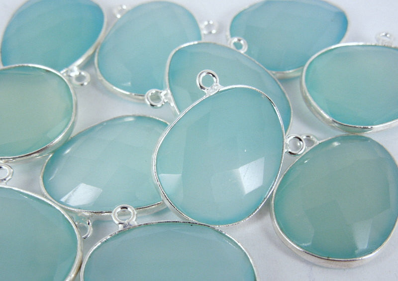 Aqua Blue Chalcedony Oval Connector Pendant -20mm x 15mm Sterling Silver Bezel Link- Double Bail Connector Pendant