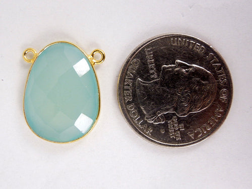 Aqua Blue Chalcedony Oval Connector Pendant -20mm x 15mm Gold Over Sterling Bezel Link- Double Bail Connector Pendant