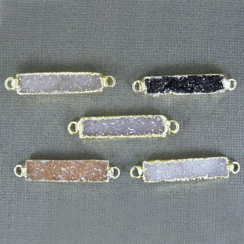 Druzy Rectangle Bar Double Bail Connector Pendant with 24k Gold Electroplated Edge(S1B3-05)