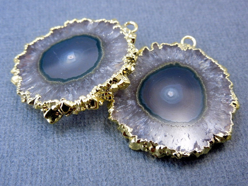 Amethyst Stalactite Slice Druzy Crystal Pendant with 24K Gold Electroplated Edges -- 1 PAIR (S19b5-04)