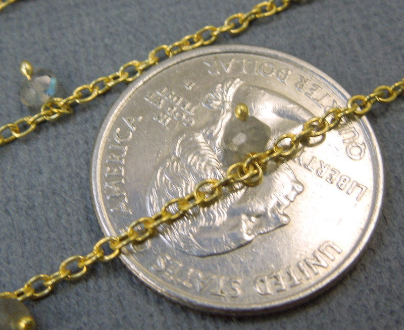 Labradorite Dangle Chain on Gold Plated Link Chain