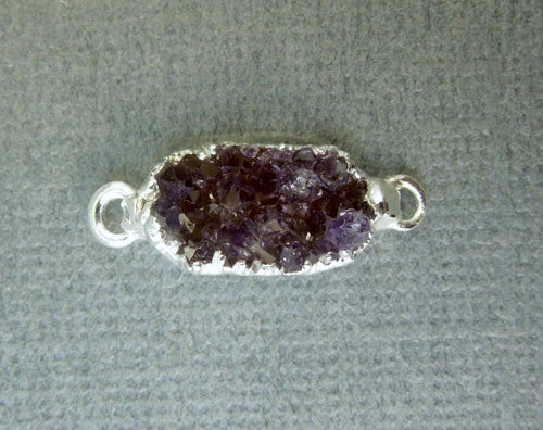 Druzy Petite Natural Freeform Semi-Oval Connector Pendant with Sterling Silver Edge