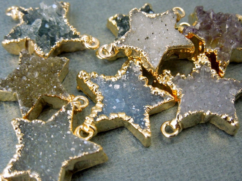 Druzy Druzzy Drusy Star Double Bail Charm Connector Pendant with Electroplated 24k Gold Edge (S11B6-04)