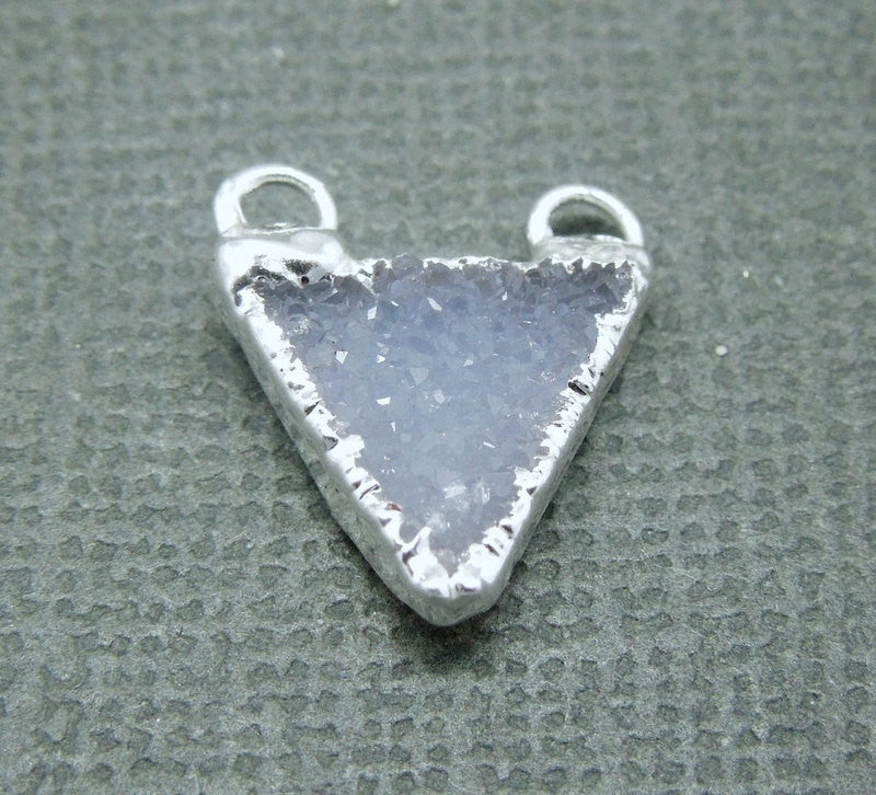 Druzy Triangle Pendant Charm with Silver Electroplated Layered Edge and Double Bail (S1B7-07)