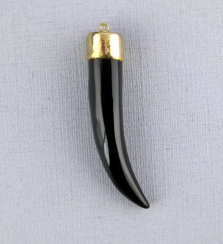 Black Agate Charm Pendant -- Black Agate Horn Pendant Charm with 24k Gold Electrolated Cap and Bail