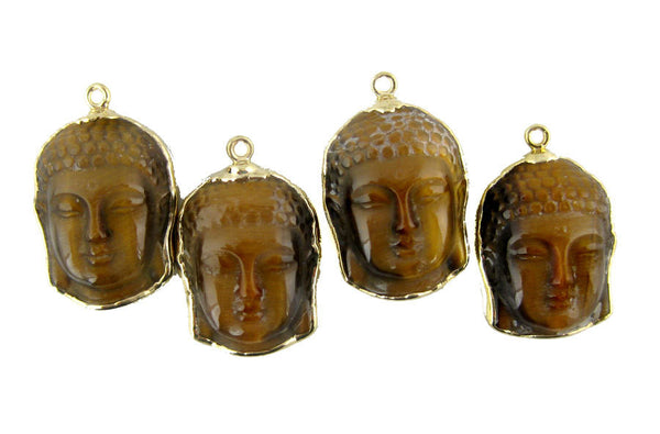 Tiger's Eye Buddha Pendant-- Tigers Eye Buddha Buddah Head Pendant with 24k Gold Electroplated edge