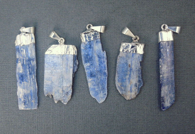 Raw Blue Kyanite Pendant Charm with Silver Electroplated Cap