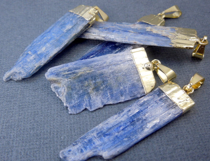 Raw Blue Kyanite Pendant Charm with Gold Electroplated Cap