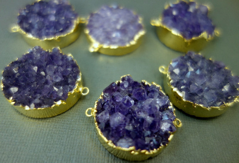 Large Amethyst Cluster Double Bail Pendant with 24k gold edging-- Round Amethyst Cluster Pendant(S1B8-04)