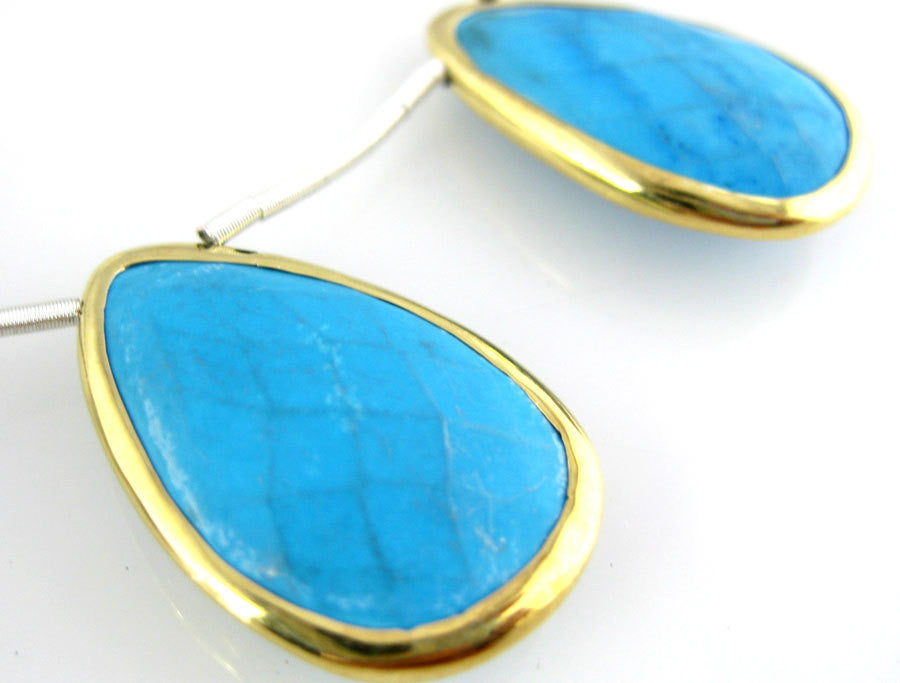Turquoise Beads-- Turquoise Magnesite Teardrop with Gold Vermeil Bezel Bead