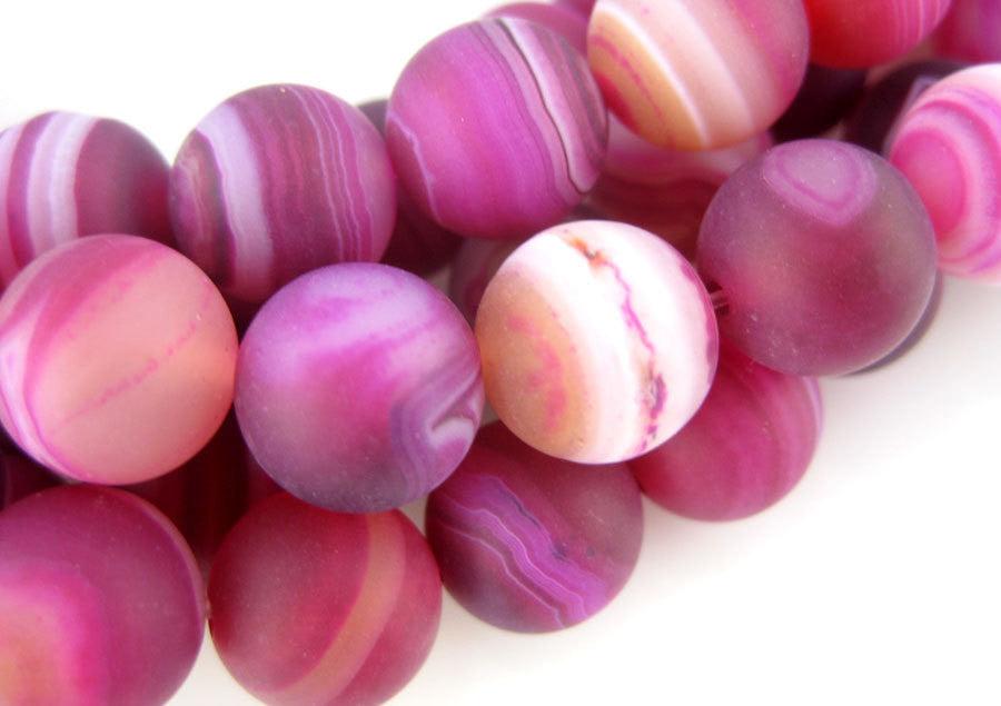 Agate Beads-- Pink Lace Agate 11mm Smooth Round Beads- FULL STRAND (S44B1-02)