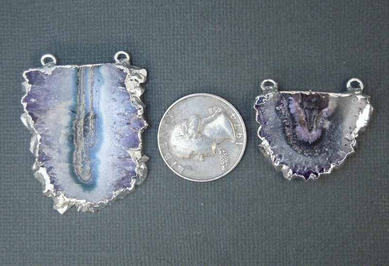 Amethyst Stalactite Slice Druzy Crystal Double Bail Pendant with Silver Edge (S1B15-05)