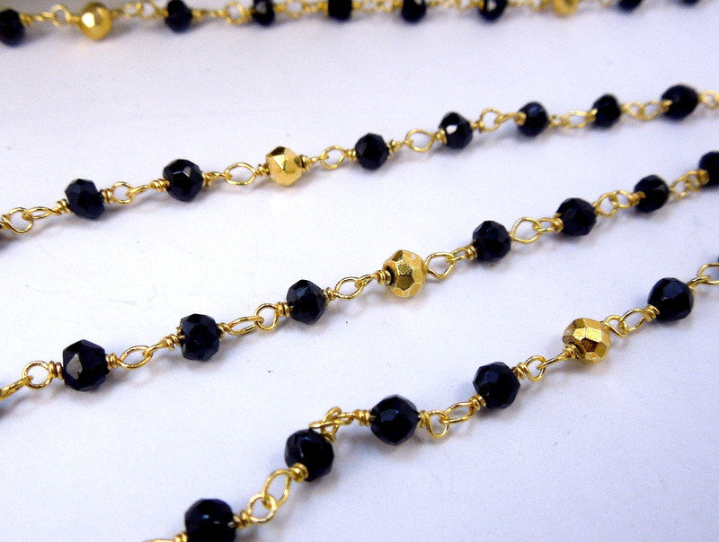 Black Spinel and Gold Pyrite Rosary Style Beaded Chain Wire Wrapped on Gold over Sterling or Plated Chain