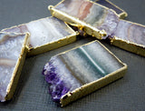 Amethyst Stalactite Slice Double Bail Pendant with 24k Gold Electroplated Edges ASP
