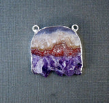 Amethyst Slice with Sterling Silver Electroplated Edge and Double Bail Pendant - Handmade Amethyst Half-Moon Slice Pendant ASP (S1B10-11)