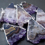 Amethyst Triangle Slice Silver Electroplated Edge and Double Bail Pendant - Amethyst Druzy Drusy Slice Pendant ASP (S1B10-12)