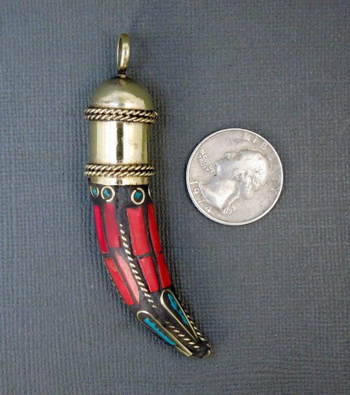 Tibetan Mosaic and Brass Tusk Horn Pendant-- Red Coral and Turquoise