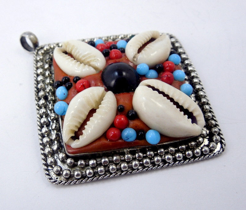 Large Silver Pendant- Silver Toned Tibetan Pendant with Cowrie Shells and Multi Colored Beads and Repousse Edges- BLUE