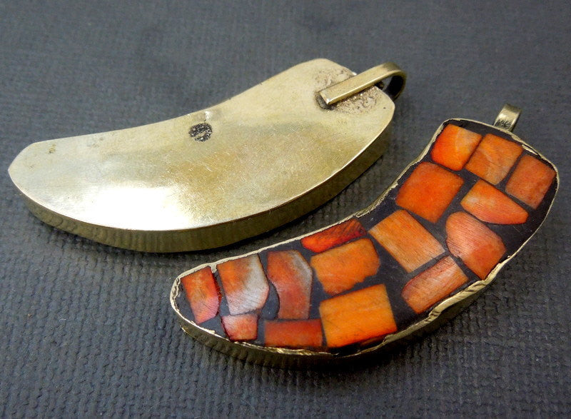 Tibetan Brass Horn Mosaic Pendant-- Orange