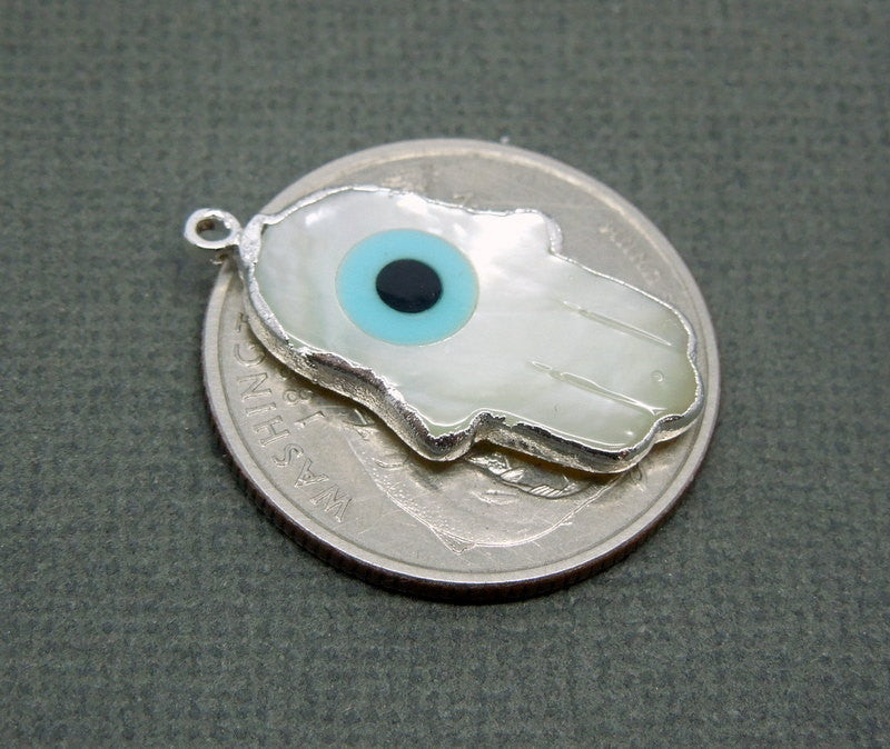 Mother of Pearl Greek Eye Hand Charm Pendant with Sterling Silver Electroplated Edge