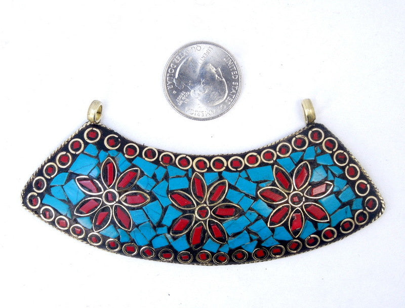 Tibetan Brass Double Bail Pendant - LARGE Tibetan Brass, Turquoise and Red Coral Flower Mosaic Curved Bar Pendant (S53B6)