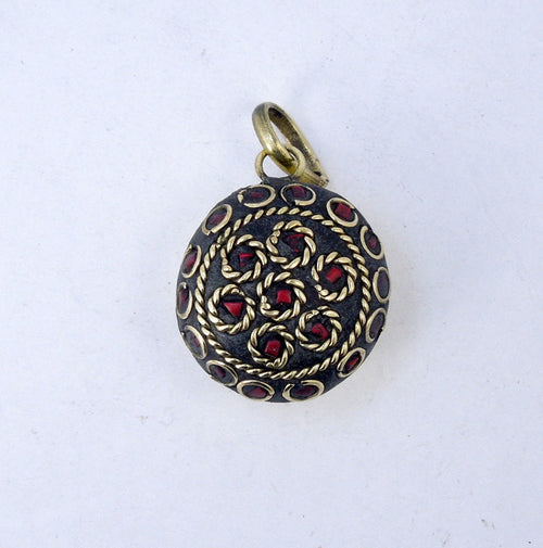 Brass Pendant-- Tibetan Brass Round Pendant with Red Howlite Mosaic (S53B9-02)