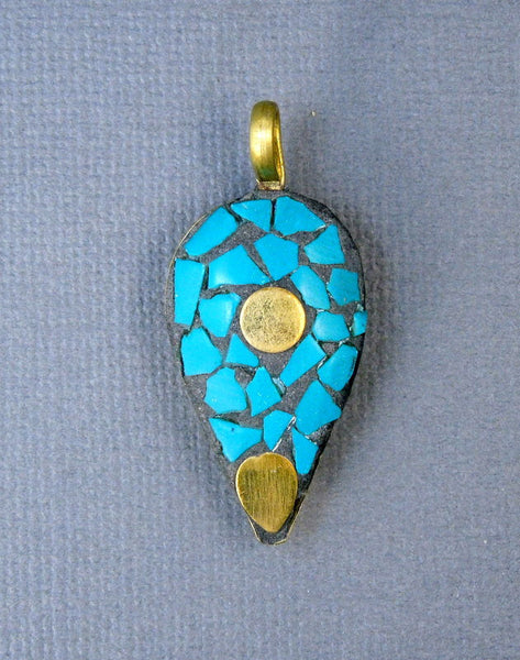 Tibetan Brass and Turquoise Mosaic Pendant- Brass and Turquoise Oil Lamp Pendant