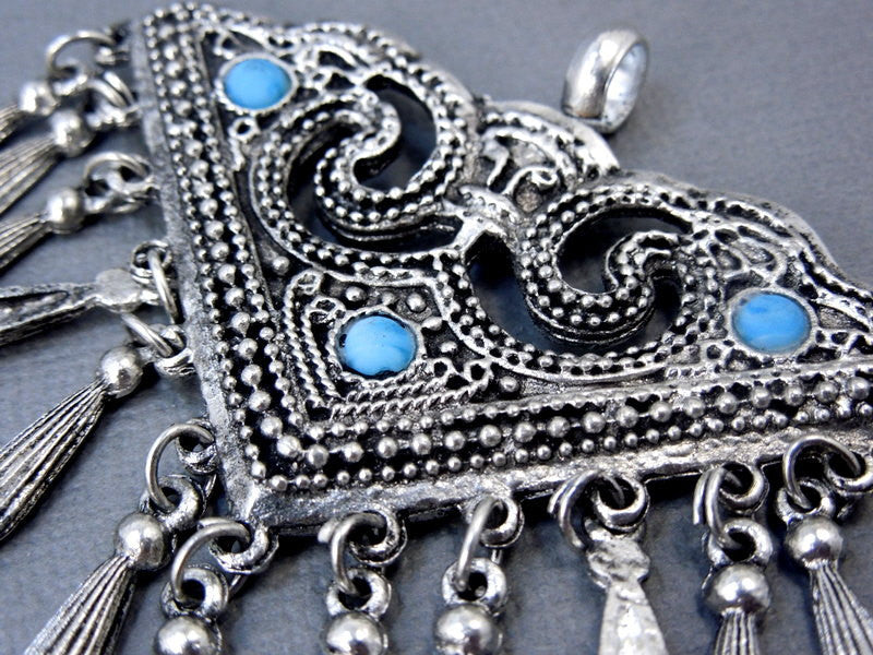 Festival Bohemian Pendant-- Silver tone with Dangling Charms and Turquoise Bead Accents