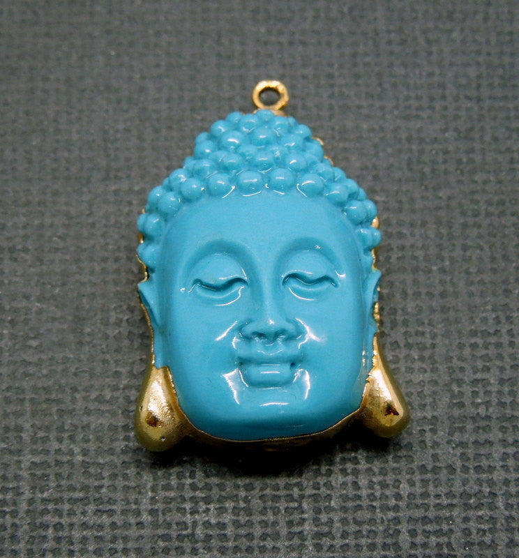 Turquoise Buddha Pendant with 24k Gold Electroplated edge (S1B5-03)