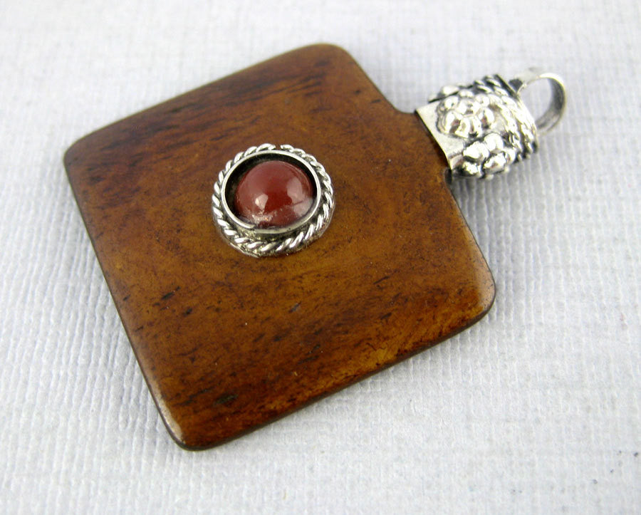 Wooden Square Pendant with Silver Plated Engraved Cap and Red Gemstone Accent - Boho Fashion  (S54B3-03)