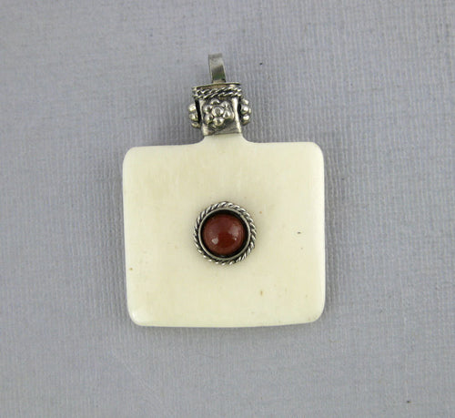 Tibetan White Carved Bone Square Pendant with Silver Plated Engraved Cap and Red Gemstone Accent - Boho Fashion 2014 (S54B3-04)