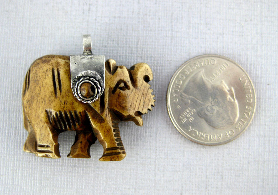 Tibetan Elephant Pendant - Brown Carved Bone Elephant with Silver Toned Cap and Bead Accents Reversible Pendant (S54B4-05)