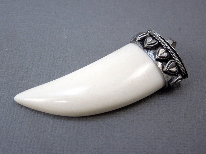 Tibetan White Carved Bone Horn Pendant with Engraved Silver Cap - Boho Fashion  (S55B12-02)