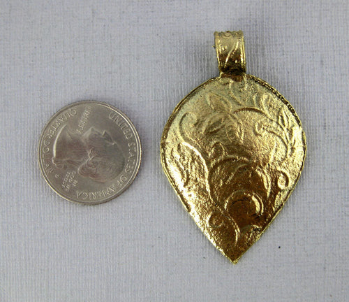 Tibetan Brass Pendant- Brass Engraved Inverted Drop-Shaped Pendant with Floral Design (S54B3-01)
