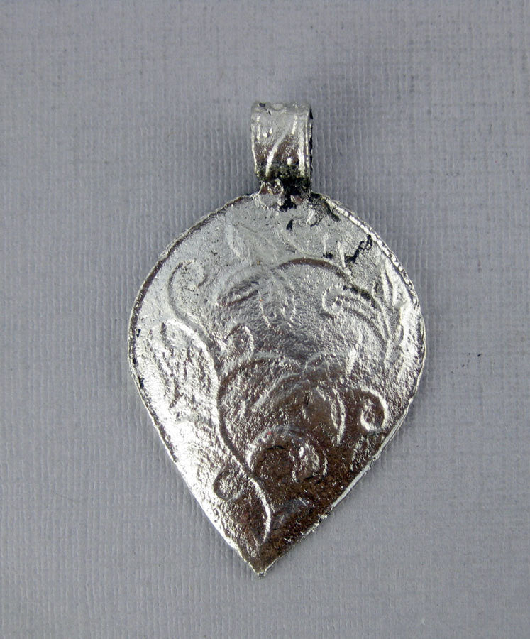 Tibetan Brass Pendant- Silver Tone Brass Engraved Inverted Drop-Shaped Pendant with Floral Design (S54B3-02)