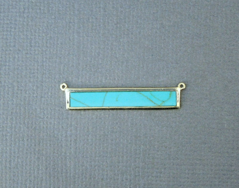 Turquoise Double Bail Connector Bar Pendant in a Gold Vermeil Bezel (LA-32)