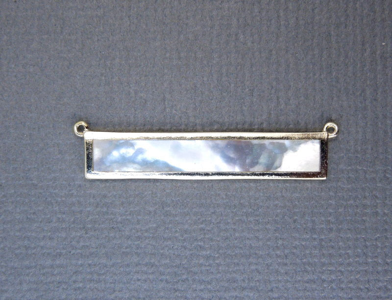 Mother of Pearl Double Bail Connector Bar Pendant set in a Gold Vermeil Bezel (LA-18)