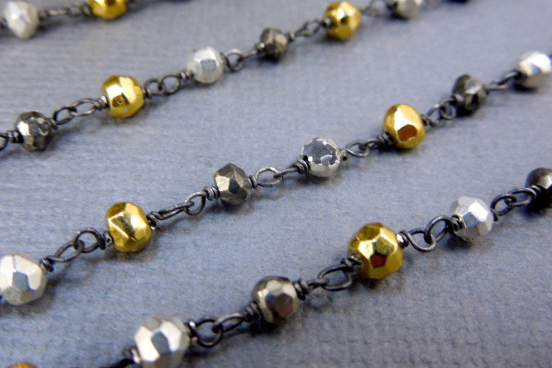 Assorted Pyrite on Black Polished Sterling Silver  or choose plated Wire Wrapped Chain (CHN-91)