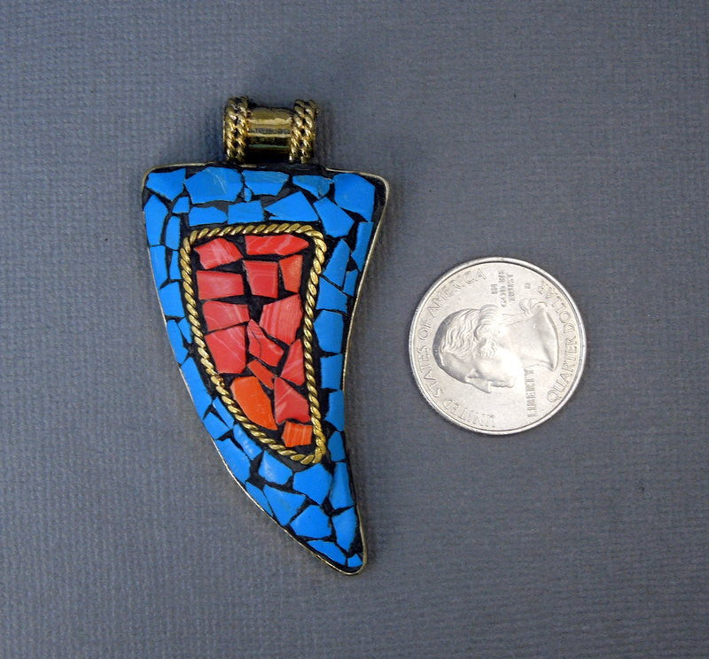 Tibetan Brass with Blue Howlite and Red Coral Mosaic Horn Pendant (S55B12-03)