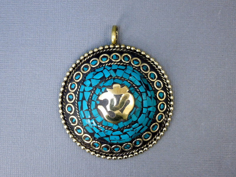 Tibetan Pendant - LARGE Tibetan Brass and Turquoise Mosaic Round Pendant with OM Symbol (S55B7-01)