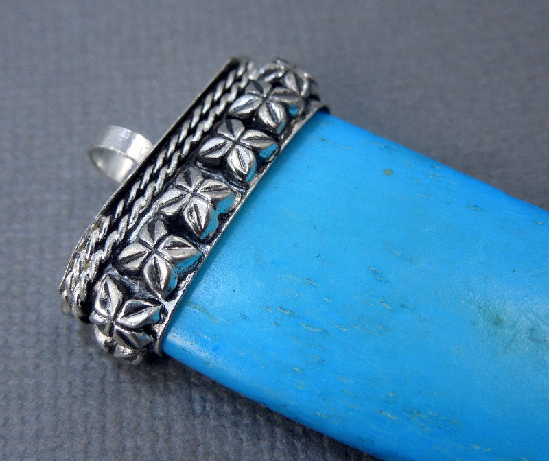 Tibetan Turquoise Colored Carved Bone Horn Pendant with Engraved Silver Tone Cap - Boho Fashion 2014 (S55B19)