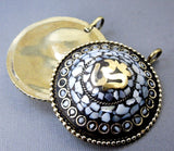 Tibetan Pendant - LARGE Tibetan Brass and Mother of Pearl Mosaic Round Pendant with OM Symbol (S55B7-03)