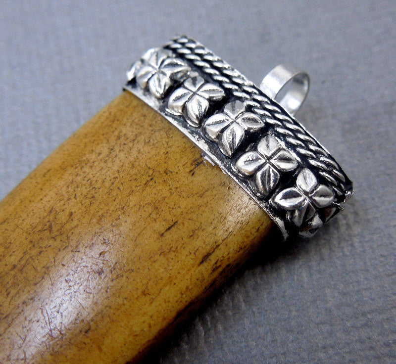Brown Carved Bone Horn Pendant with Engraved Silver Cap - Boho Fashion  (S55B4)