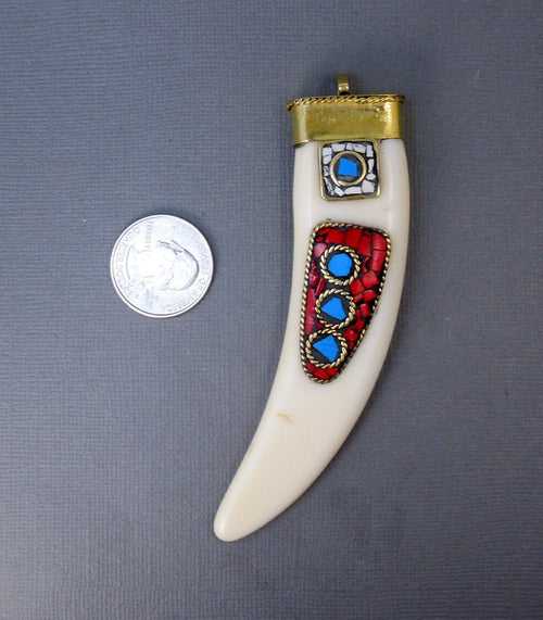 Tibetan White Carved Bone LARGE Horn Pendant with Brass Cap and Mosaic Accents- Boho Fashion 2014 (S55B16)