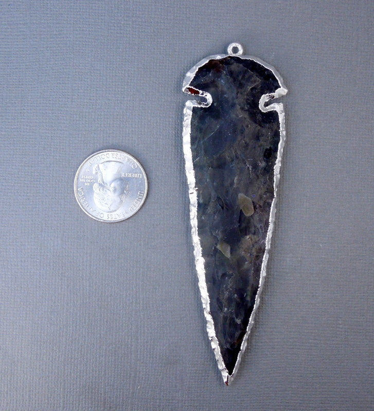 Arrowhead Pendant-- EXTRA Large Handcarved Stone Arrowhead Pendant Silver Plated Made in USA