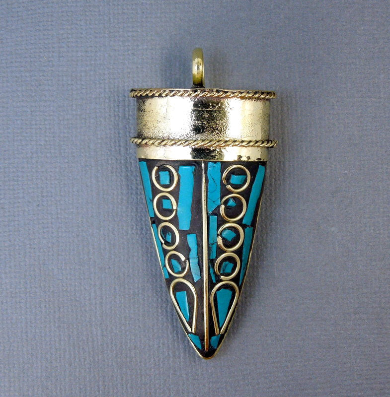 Brass Horn Pendant-- Large Tibetan Turquoise and Brass Mosaic Pendant  (S55B18)