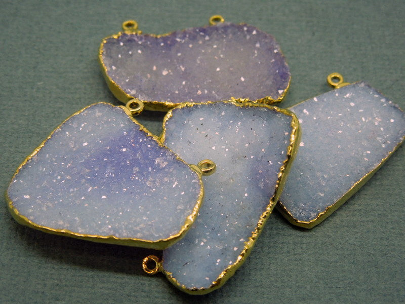 Light Purple Druzy Drusy Double Bail Freeform Pendant with Gold Electroplated Edges - Double Bail Connector (S1B10-04)
