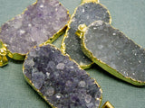 Amethyst Purple Oval Druzy Drusy Pendant with Gold Electroplated Edges - LARGE extra quality FRD (S1B10-07)