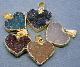 Heart - Druzy Druzzy Drusy Heart Pendant Charm with 24k Gold Electroplated Edge (S1B10-09)